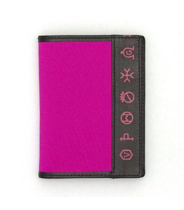 5358c4c2a Cartera taurina de tela de capote rosa con piel negra - ToroRegalo.com